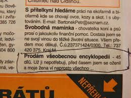 Inzerát na encyklopedie