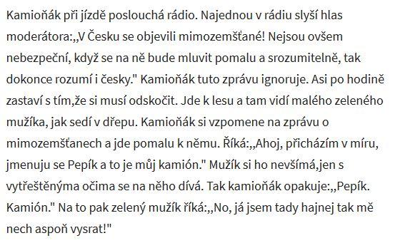 Zdeněk Izer vtip o mimozemšťanech