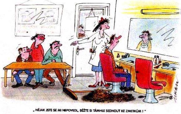 Kreslený vtip u kadeřnice