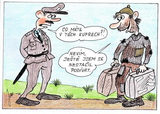 Kreslený vtip – policajt